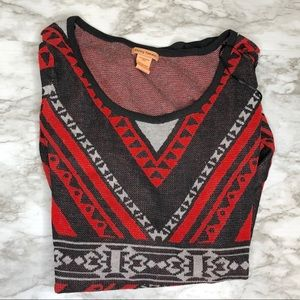 Flying Tomato | red sweater aztec dress • large